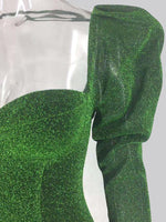 Green Lurex Puff Shoulder Dress