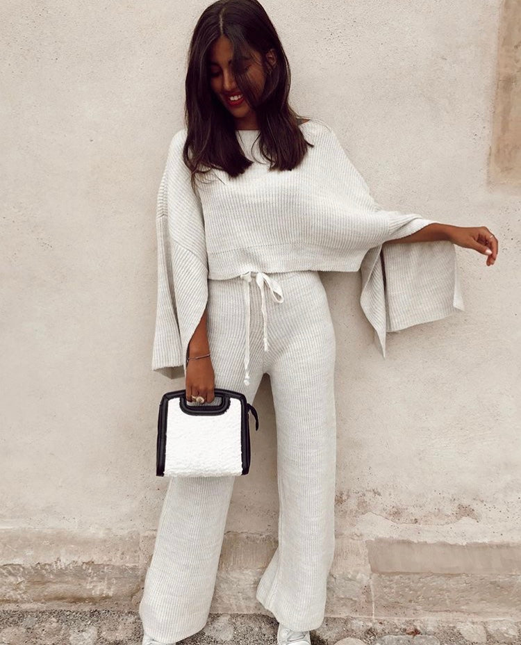 Wide Pants & Sleeve Knit Co-Ord Set