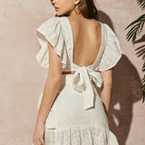 Tied Backless Ruffle Set