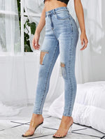 Light Wash Rhinestone Fringe Skinny Jeans