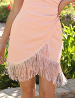 Ruched Detail Sequin Fringe Dress