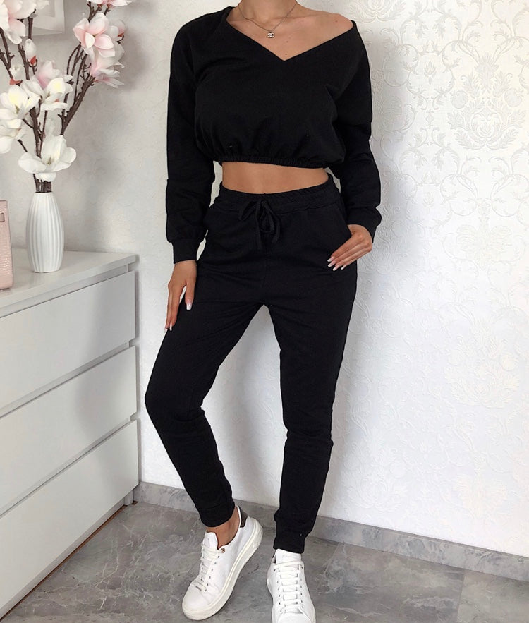 Off Shoulder Crop Top & Trouser Co-ord