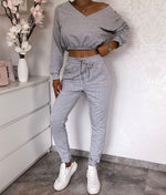 Grey Crop Loungewear Set