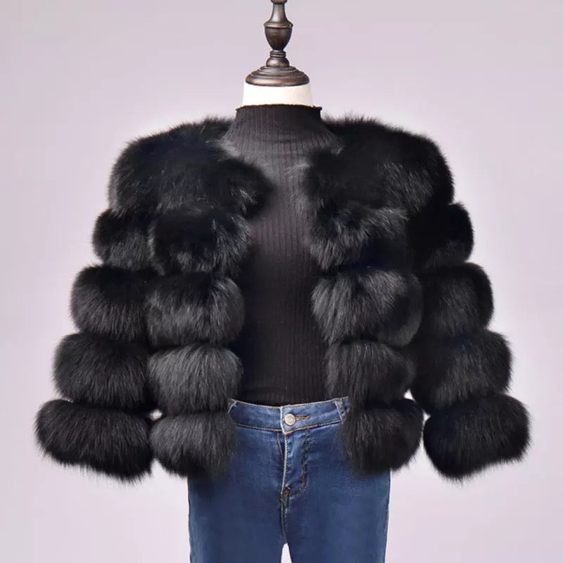 Gina Black Faux Fur Coat (Short Length)