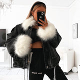 Faux Fur Denim Jacket Black & White