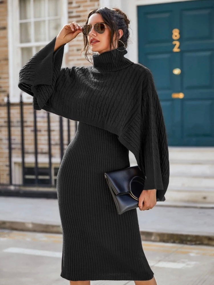 Turtleneck Cable Knit Top & Rib-Knit Sweater Dress