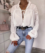 Silky Long Sleeves Romantic Frills Top (more colours)