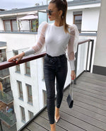 Puff Sheer Sleeve Knitted Top