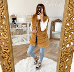 LAYERS PATTERN SHAGGY FAUX FUR GILET Camel