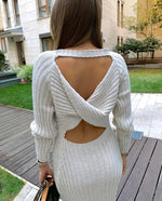 Long Knitted Open Back Dress Beige