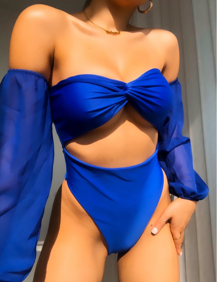 Ask Tulle Sleeve Blue Swimsuit