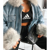 FUR COLLAR DENIM JACKET GREY