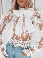 WHITE SCALLOP LACE PUSSY BOW BLOUSE