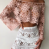 Flower Crochet Pink Top