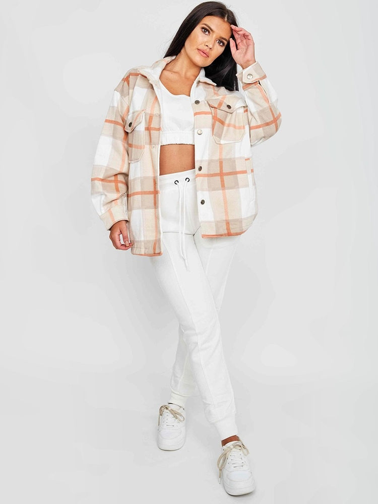 Classic Thick Colour Block Checked Shirt Jacket-Stone (More colours)