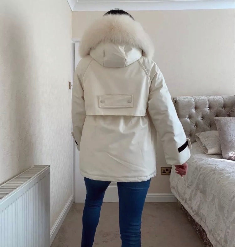 Hooded Winter Jacket Light Beige With White Faux Fur