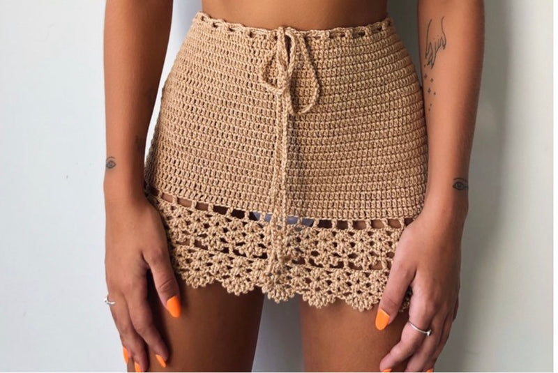 Crochet Knit Nude Skirt