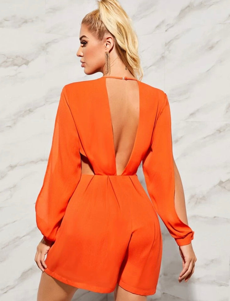Plunge Neck Split Sleeve Cut Out Romper