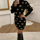 Black & Gold Heart Print Jumper Dress