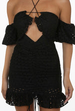 EMBROIDERY KEY HOLE TIE FRONT OFF SHOULDER BLACK DRESS