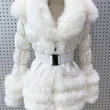 Detachable Faux Fur Coat White
