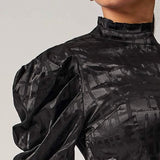 Backless TieBack Gigot Sleeve Satin Top