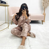 Long Sleeved Circle Flower Print Pyjama Set