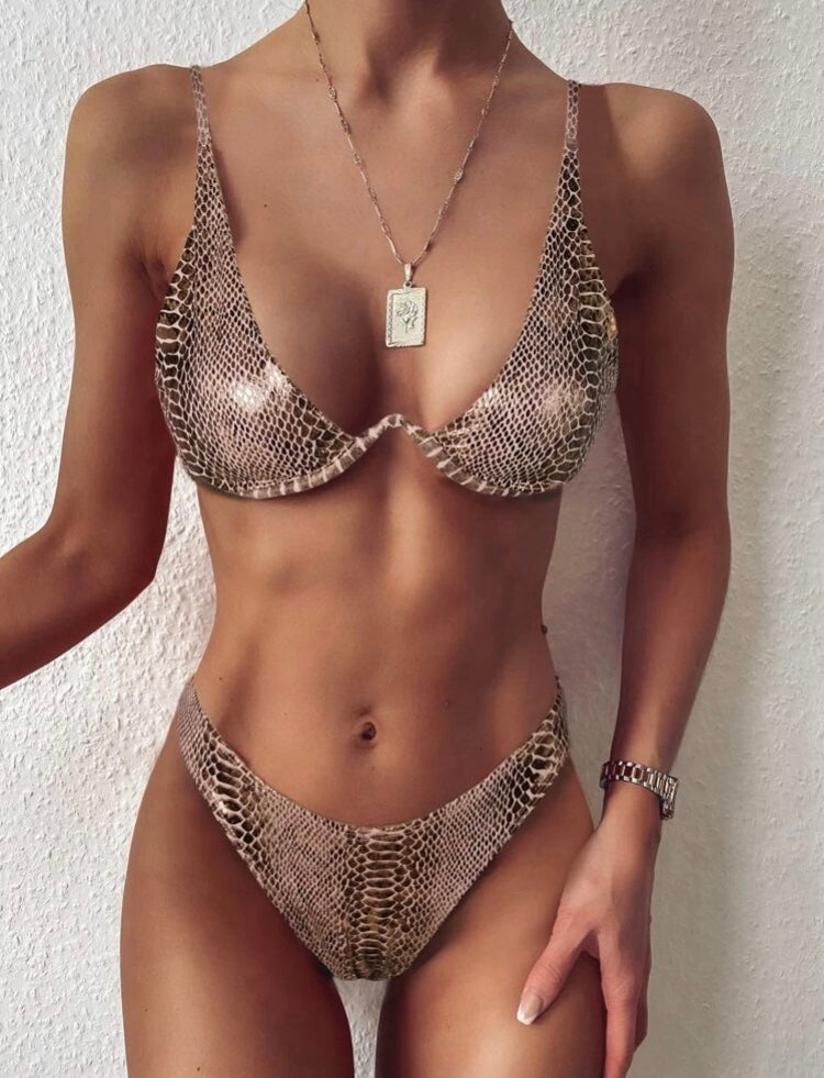 Croc Metallic Underwire High Cut Set