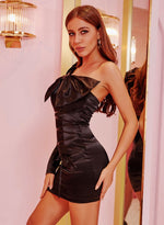 Black Satin Bow Dress