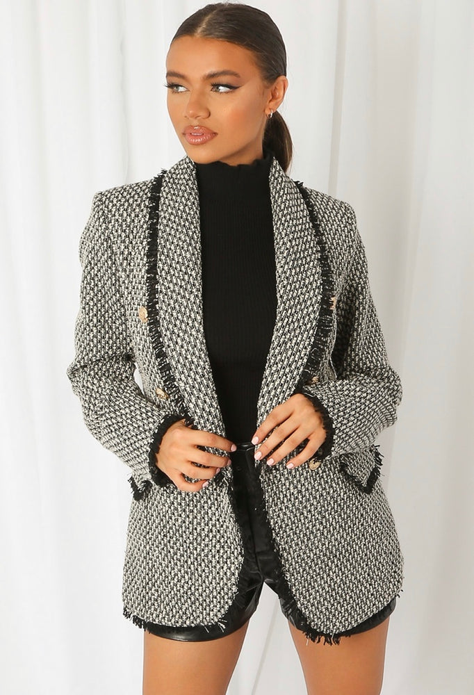 TWEED SHAWL LAPELS DOUBLE BREASTED BLAZER