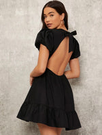 Backless Puff Sleeve Ruffle Dress