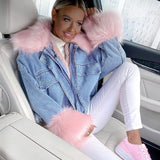 OVERSIZE FUR LINED DENIM JACKETS WITH ROSE FUR