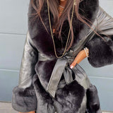 FAUX LEATHER FUR TRIM COAT