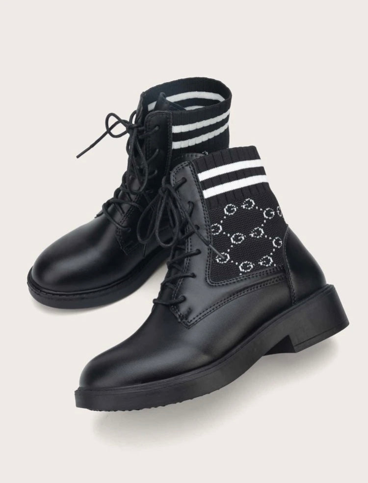 Letter Graphic Combat Boots
