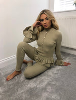 GOLDEN BUTTON TRIM FRILLED JUMPER AND TROUSER LOUNGEWEAR SET (More colours)