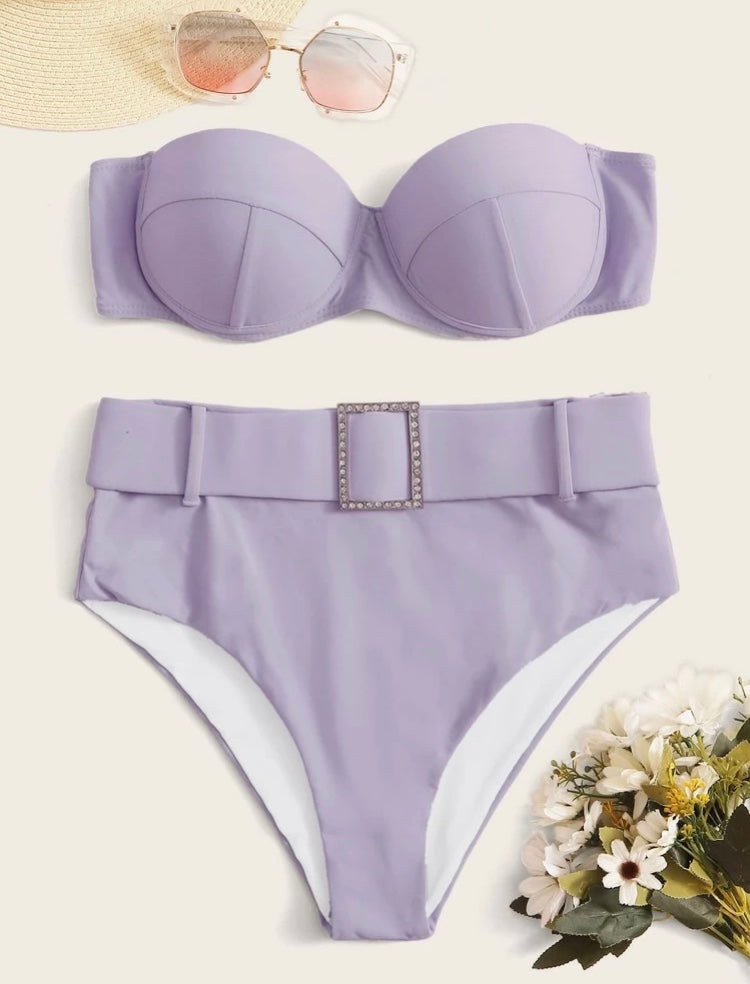 Lale underwire High Waisted Diamond Set Lilac