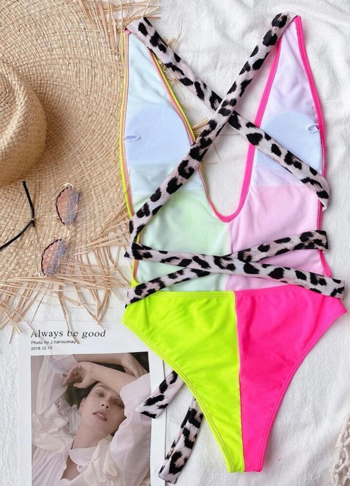 Neon Wrap Swimsuit