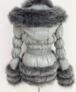 Detachable Faux Fur Coat Grey