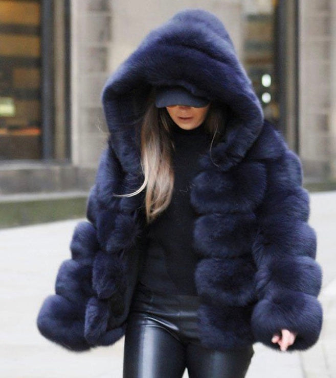 Thick Warm Faux Fur Coat Navy