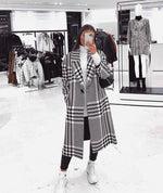 Oversized Monochrome Houndstooth Long Coat