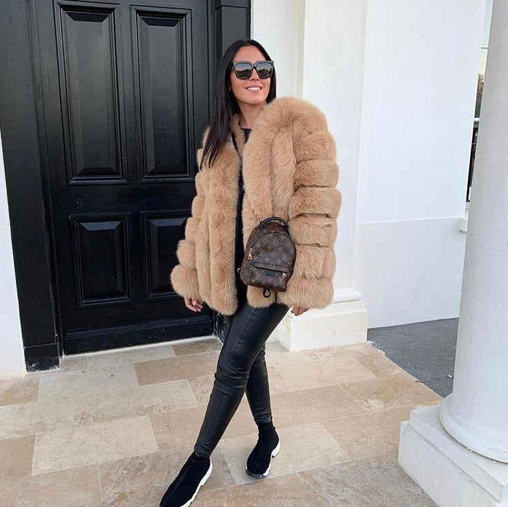 Deniz Faux Fur Light Camel Coat