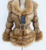 Detachable Faux Fur Coat Champagne Dark