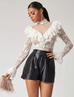 Mesh Ruffle Trim Lace Top