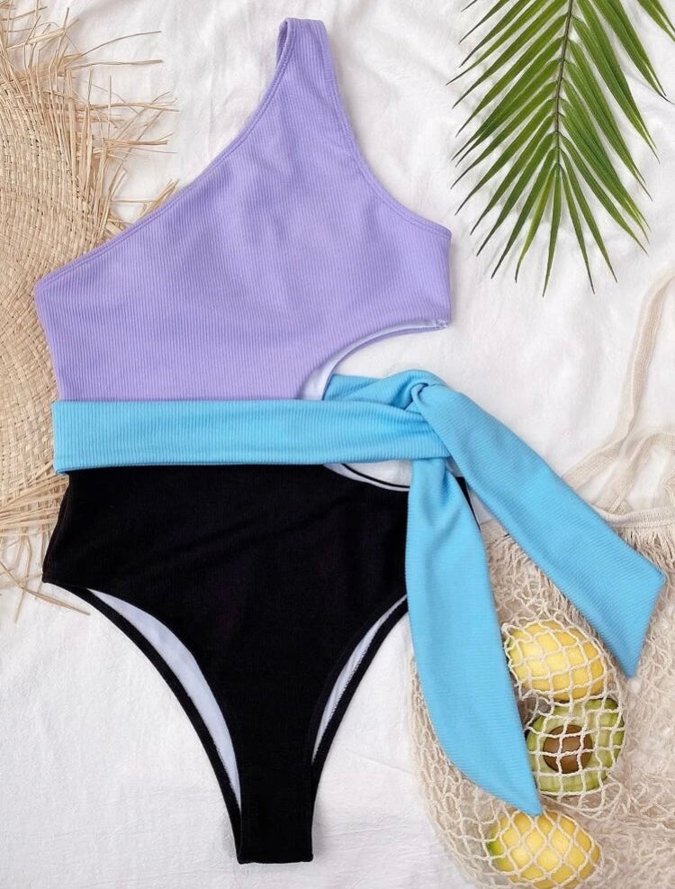 Purple Half Textured Swimsuit