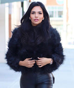 Ostrich Feather Coat Black