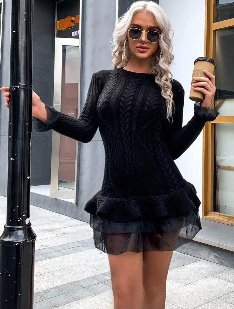Tulle Knit Short Bodycon Dress