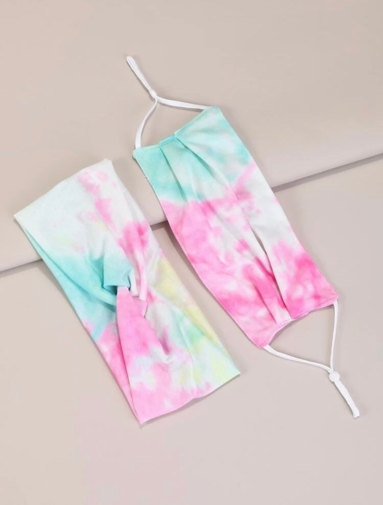 Tie Dye Face Mask & Headband Set