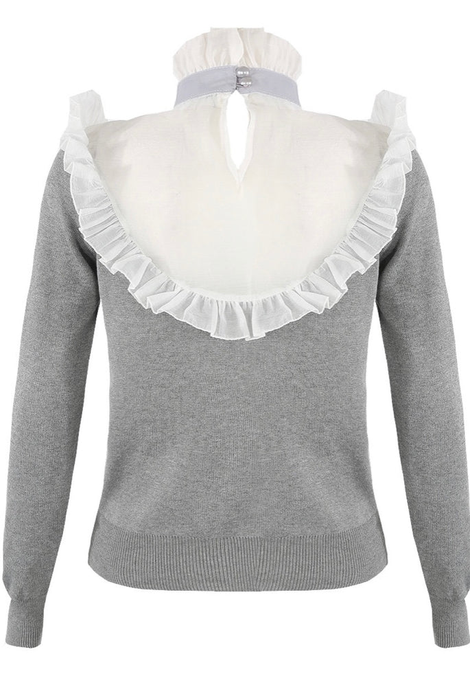 CONTRAST NETTED TRIM KNOTTED TOPS