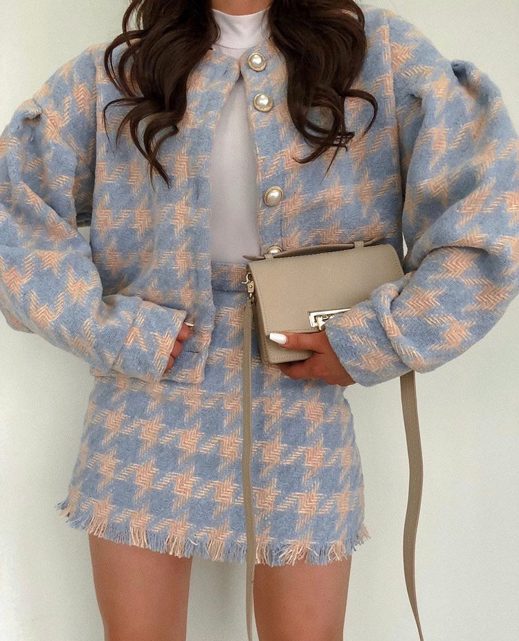 Dropped Shoulder Jacket & Skirt Set (Blue)