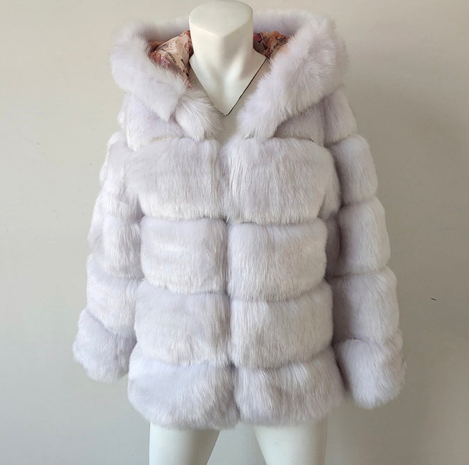 Thick Warm Faux Fur Coat Silver